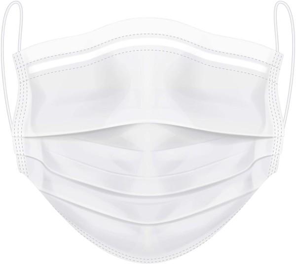 Medizinischer Mund- und Nasenschutz - CE - weiß - VE